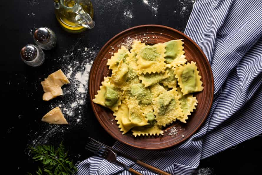 Ravioli with spinach and ricotta cheese.