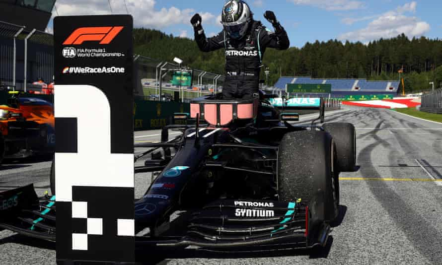 Valtteri Bottas celebrates after winning the race at the Red Bull Ring