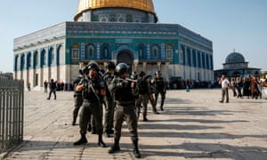 Israeli security forces in front of the Dome of the Rock in the old city of Jerusalem in July.