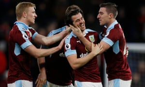 Joey Barton celebrates scoring the opening goal for Burnley against Southampton with team-mates.
