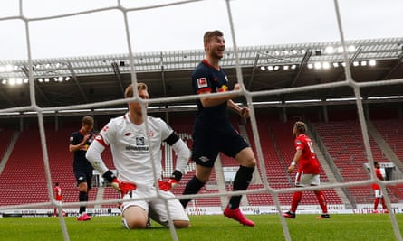 Timo Werner of RB Leipzig celebrates the second goal of his hat-trick during RB Leipzig's thrashing of Mainz.