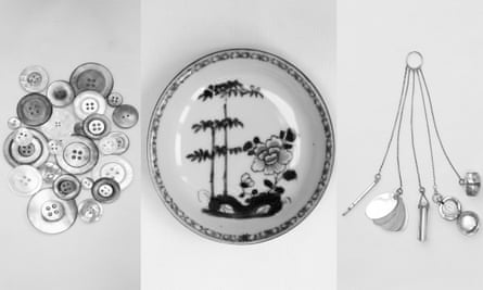 Personal objects from Wilcox's new book,  Patch Work. From left, mother-of-pearl buttons, 1900-1950; a porcelain saucer with blue underglaze, 1751, Jingdezhen, China; and a silver chatelaine, c1910.