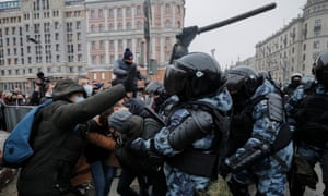 Russian special police clash with protesters during an unauthorised protest in support of the opposition leader and blogger Alexei Navalny in Moscow