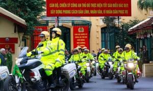 Vietnamese police in Hanoi ahead of the summit.