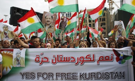 Kurds waving flags on Sunday during a rally in support of independence, before the scheduled referendum.
