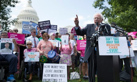 Bernie Sanders speaks at a rally calling on the Senate to defeat the Graham-Cassidy bill this week. Hundreds plan to attend similar events.