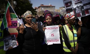 South African women take part in a protest against gender based violence in Pretoria, South Africa, on 27 September 2019. The march by civil servants was organised by the South African government.