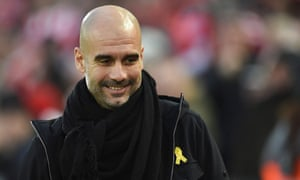 manchester city manager pep guardiola arrives for the english premier league football match between liverpool and