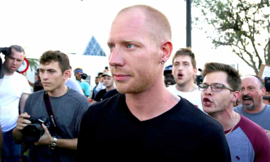 The Gainesville shooting suspect Tyler Tenbrink pictured leaving the Richard Spencer speaking event at University of Florida White on Thursday.