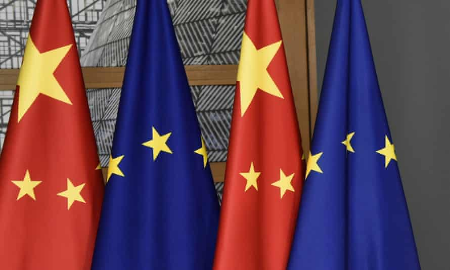 The Chinese and EU flags on display before a summit in Brussels.