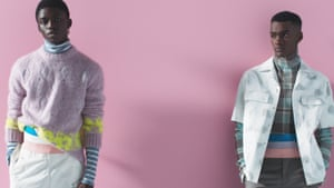 Dior men's collection featured pastels and chunky knits.