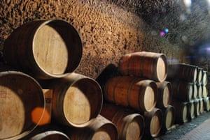 The wine cellars at Sassotondo vineyard are cut deep into tufo