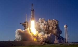 SpaceX's Falcon Heavy rocket on its first full commercial launch earlier this month.