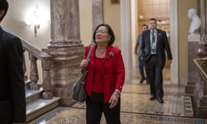 Senator Mazie Hirono of Hawaii, leaves after the Senate heard closing arguments.