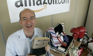 Amazon's Jeff Bezos with a selection of products in 2005.