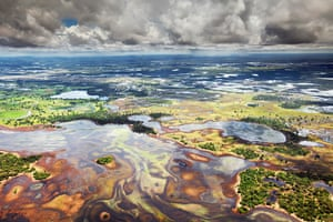 Pantanal, BrazilThe world's largest freshwater wetland, the Pantanal covers more than 180,000 sq km of western Brazil and parts of Bolivia and Paraguay. This image shows one of its vast plains, 80% of which are inundated during the wet season – with water levels rising by up to five metres.
