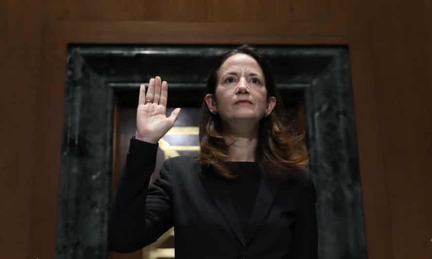 Director of national intelligence, Avril Haines, is sworn in before the start of her confirmation hearing as nominee for director of national intelligence on Capitol Hill, 19 January 2021. The US Senate voted the next day to approve her as director of national intelligence.