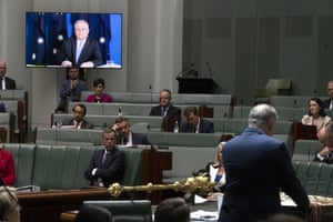 Prime Minister Scott Morrison on audio video link during Question Time in the House of Representatives at Parliament House in Canberra