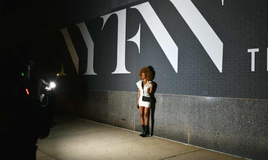 Street style photography outside the LaQuan Smith event in New York this week.