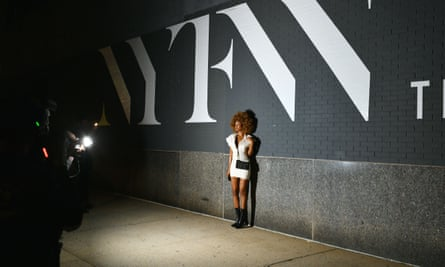Street style photography outside the LaQuan Smith show in New York this week.