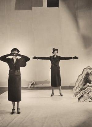 Models Wearing Schiaparelli Desk Suit for Vogue , 1936