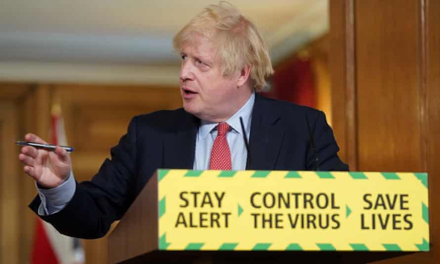 Boris Johnson gives a coronavirus briefing in 10 Downing Street.