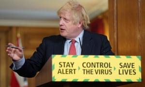 Boris Johnson during a coronavirus media briefing in Downing Street on Thursday.