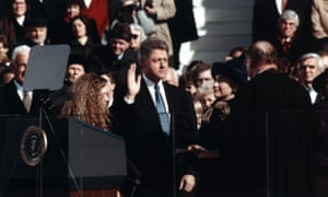 Hillary Clinton, right, looks on as her husband Bill is sworn in as president in 1992.