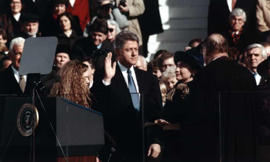 President Bill Clinton takes his oath of office, accompanied by Hillary Rodham Clinton, in 1993.