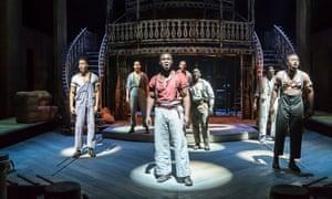 Emmanuel Kojo, centre, in the musical Showboat