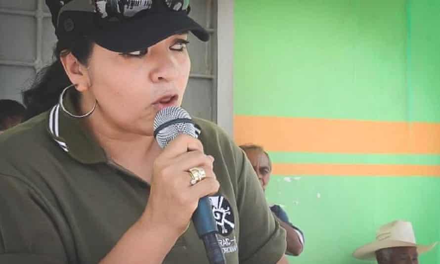 Nestora Salgado addresses the community police force she led in Olinalá prior to her arrest.