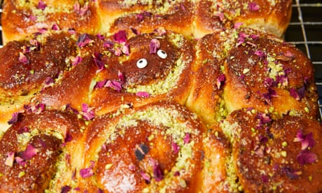 Kim-Joy's recipe for pistachio, rose and cardamom tangzhong chelsea buns