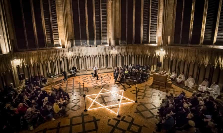 Six-hundred candles in the shape of the Star of David light the floor of York Minster
