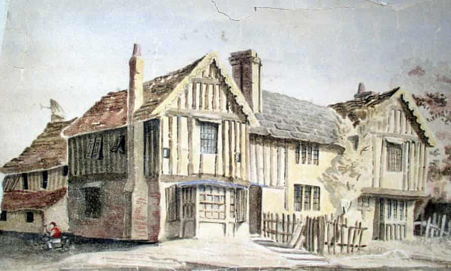 An 1850 watercolour of Bishops, Horsham, West Sussex, which featured on the cover of Annabelle Hughes' 2016 book Horsham Houses Revisited. The building now accommodates a shop and a restaurant.