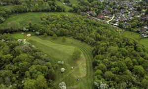 A view of the fourth hole at Llanymynech Golf Club, where golfers tee off from Wales and putt in England.