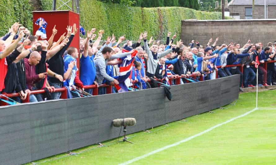 Rangers fans at Brechin City's Glebe Park in July 2012