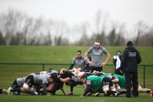 Aaron Smith of the All Blacks puts the ball into a scrum during training.