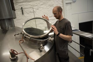 A monk at work in the brewery