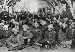Injured Indian soldiers being cared for by the Red Cross in England in March 1915.