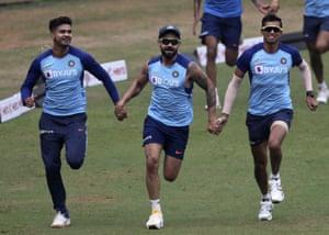Virat Kohli, Shreyas Iyer and Navdeep Saini in good spirits before the first ODI against Australia in Mumbai.