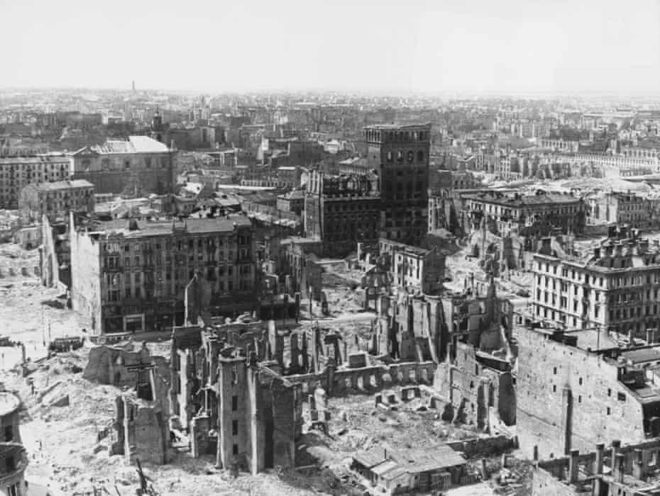 Warsaw in ruins at the end of world war two. Faced with rampant homelessness, in 1945 Poland's new communist authorities transferred ownership of all land within the city's pre-war borders to the municipal authorities.
