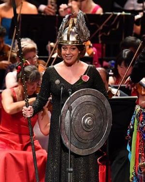 Soprano Nina Stemme performs Rule, Britannia! with the BBC Singers, BBC Symphony Chorus and the BBC Symphony Orchestra conducted by Sakari Oramo at the Last Night of the Proms 2017.