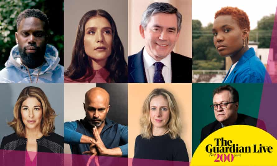 Clockwise from top left: Ghetts, Jessie Ware, Gordon Brown, Arlo Parks, Russell T Davies, Marina Hyde, Akram Khan, Naomi Klein