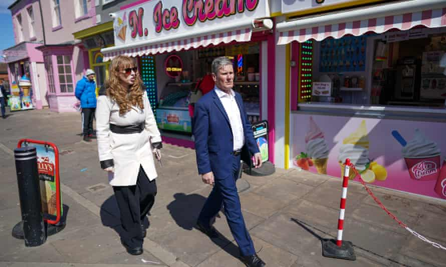 Keir Starmer with Angela Rayner, Labour's deputy leader, campaigning in Seaton Carew, near Hartlepool, County Durham.