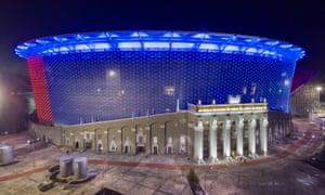 A general view of Ekaterinburg Arena at night.