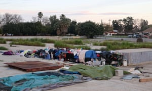 A homeless encampment at the site of the former Pacific California tomato cannery in the Central Valley town of Patterson.