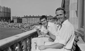 England cricket bowlers John Snow, left, and Ken Higgs enjoy a cup of tea after their record-breaking 128-run last wicket stand against the West Indies in the fifth and final test at The Oval in August 1966.