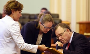 In happier days: Jackie Trad, left, swears in Rob Pyne at Parliament House, Brisbane, on 24 March 2015.