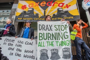 A protest against Drax, said to be the biggest carbon emitter and coal power station in the UK.