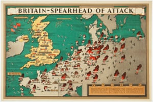 Britain's counter-attack after the end of the Blitz Frederick Donald Blake. Britain - Spearhead of Attack. London: Alf Cooke Ltd for H.M. Stationery Office, 1944. £1,250 A wartime propaganda poster showing the Allies turning the tables after the end of the Blitz and sending bombers to destroy the German infrastructure. The map shows cities, bridges and factories in flames on the continent (as far south as Genova), while Britain gears up its war machine, supplied by ships from the USA and Canada. A scarce piece of wartime memorabilia. http://www.alteagallery.com/stock_detail.php?ref=16219